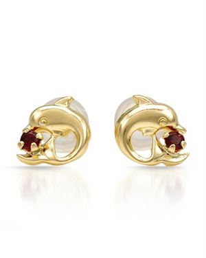Ladies Garnet Earrings Designed In 10K Yellow Gold
