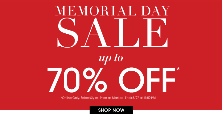 Up To 70% Off - Memorial Day Sale