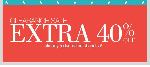LAST DAY! Extra 40% OFF Clearance Items! Shop NOW!