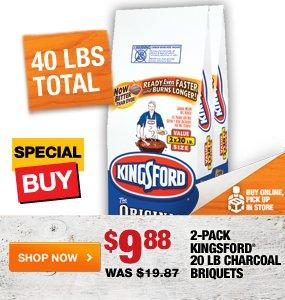 $12.88 2-pack Kingsford 20 lb Charcoal Briquets