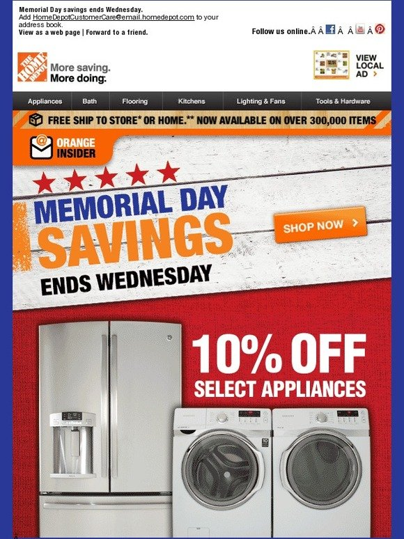 home depot hours of operation memorial day