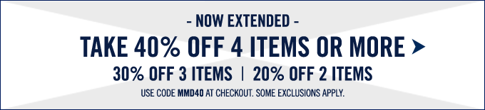 Take 40% off 4 items or more. Limited time only.