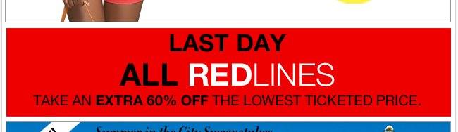 Monday Doorbusters till 2pm + EXTRA 60% off all Redlines!
