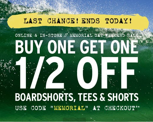"Buy one get one 1/2 off select styles - Use code ""Memorial"" at checkout**"