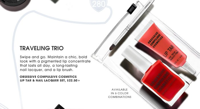 Traveling Trio. Swipe and go. Maintain a chic, bold look with a pigmented lip concentrate that lasts all day, a long-lasting nail lacquer, and a lip brush. available in 6 color combinations. new . exclusive . online only. Obsessive Compulsive Cosmetics Lip Tar & Nail Lacquer Set, $22.50