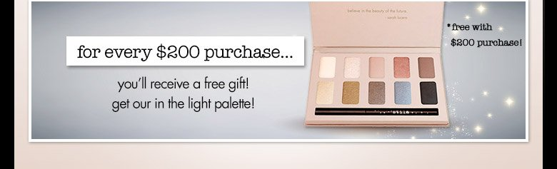 $200 purchase get in the light eye shadow palette