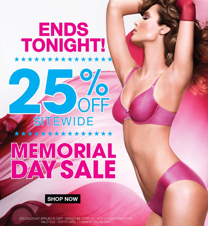 Ends Tonight! 25% Off Sitewide Memorial Day Sale