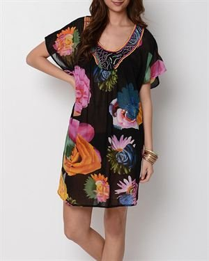 Yuka Beach Beaded Floral Cover-Up