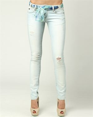 Eight Sin Multicolor Tie Belt Faded Skinny Jeans Made In Italy