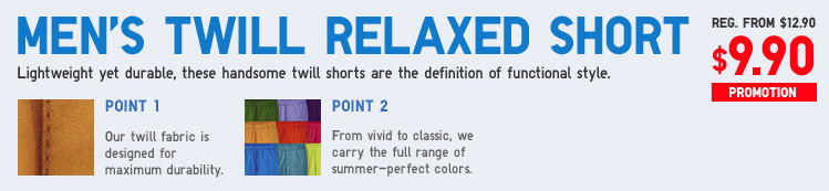 MEN'S RELAXED TWILL SHORTS