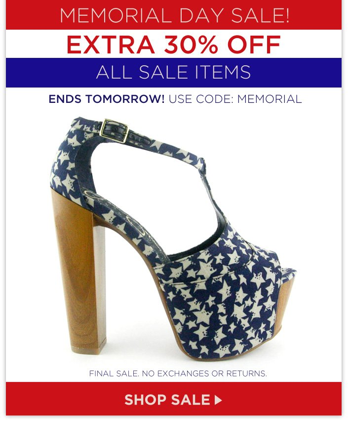 Memorial Day Sale – extra 30% OFF All Sale Items ends tomorrow. Use code: MEMORIAL.