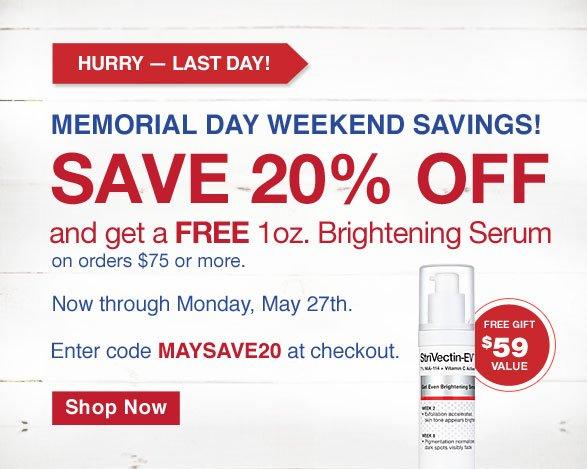 Memorial Day weekend savings! save 20% OFF