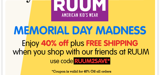 We're spreading the RUUMor: 40% off all orders + free shipping this weekend from our friends at RUUM!