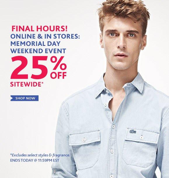 Online & in Stores: Memorial Dat  Weekend Event 25% Off Sitewide Shop Now »