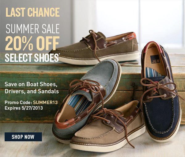 Summer Sale 20% Off Select Shoes