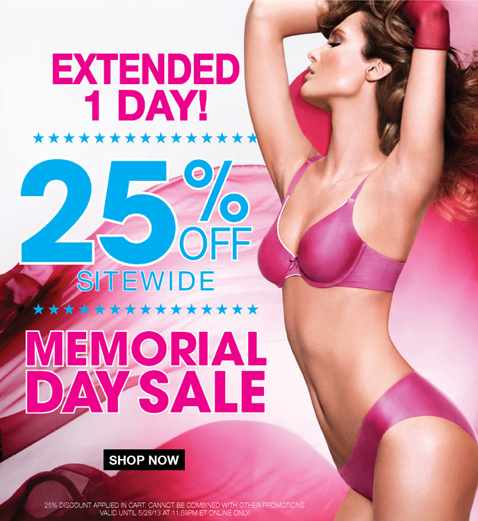 Extended 1 Day! 25% Off Sitewide Memorial Day Sale