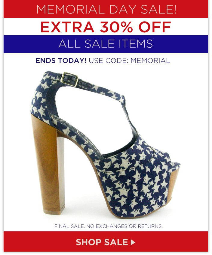 Memorial Day Sale – extra 30% OFF All Sale Items ends today! Use code: MEMORIAL.