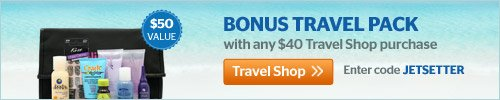 Bonus Travel Pack included with $40 purchase from Travel Shop