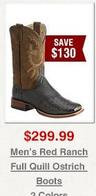 Red Ranch Full Quill Ostrich Cowboy Boots