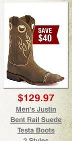 Justin Bent Rail Suede Testa Cowboy Boots