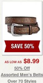 50% off Assorted Men's Belts