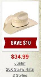 Justin 20X Straw Hats