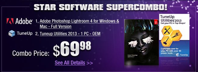 STAR SOFTWARE SUPERCOMBO! Adobe Photoshop Lightroom 4 for Windows & Mac - Full Version. Tuneup Utilities 2013 - 1 PC - OEM