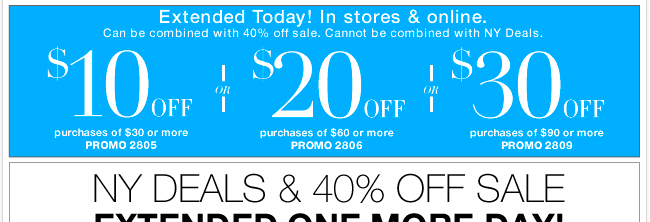 NY Deals & 40% Off sale EXTENDED ONE MORE DAY!