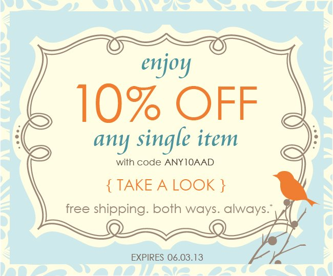 Save 10% off any item today.