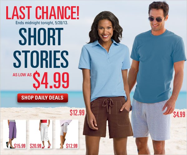 Daily Deals: Shorts as low as $4.99