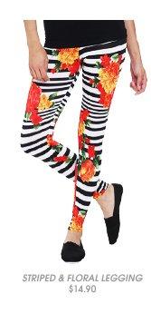 Striped Floral Legging