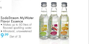 SodaStream MyWater Flavor Essence - Makes up to 60 liters of flavored sparkling water - All-natural, unsweetened $9.99 (Set of 3)