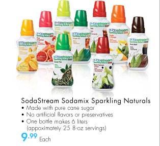 SodaStream Sodamix Sparkling Naturals - Made with pure cane sugar - No artificial flavors or preservatives - One bottle makes 6 liters (approximately 25 8-oz servings) $9.99 Each