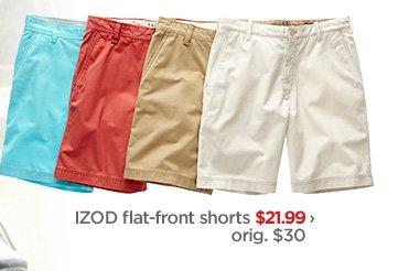 IZOD flat–front shorts $21.99 › orig. $30