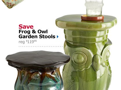Save Frog & Owl Garden Stools