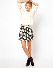 ASOS Skater Skirt in White Floral Print