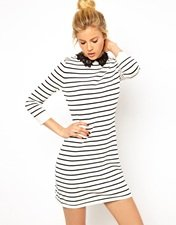ASOS Striped Dress With Lace Collar