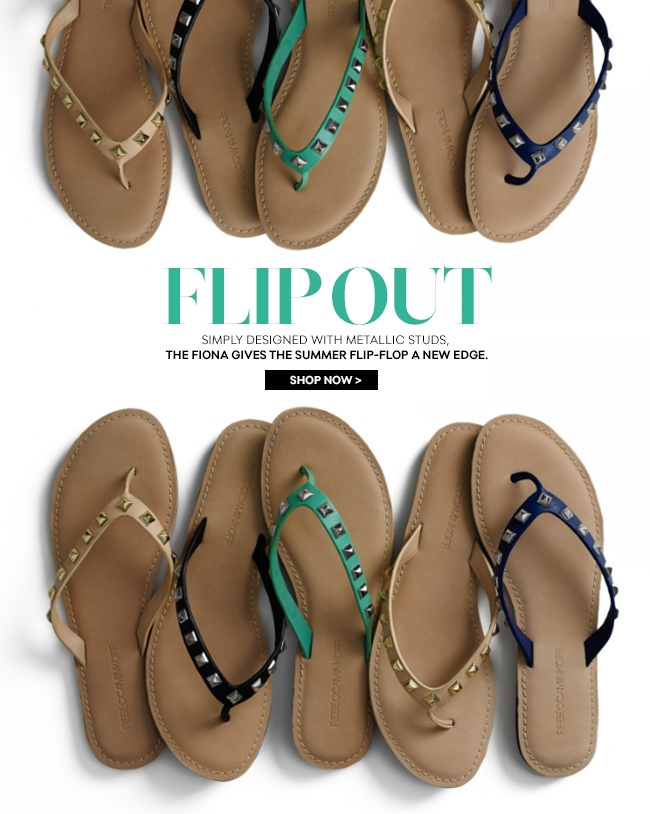Flip Out: Simply designed with metallic studs, the Fiona give the summer flip-flop a new edge.