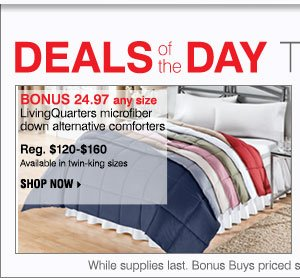 Deals of the Day! Today only! BONUS 24.97 any size LivingQuarters microfiber down-alternative comforters Reg. $120-$160 Available in twin-king sizes.