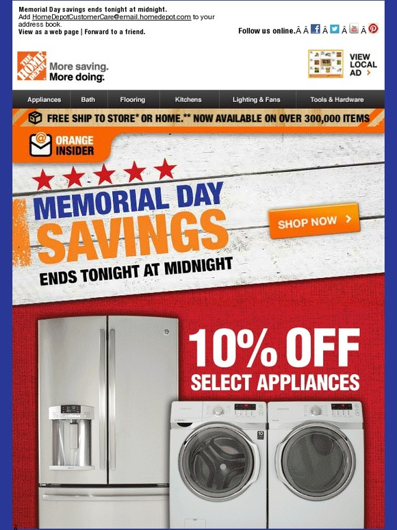 Home Depot: Hurry! Savings End Today | Milled