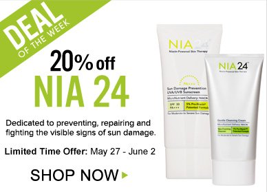 Deal of the Week: Save 20% on NIA 24 Dedicated to preventing, repairing and fighting the visible signs of sun damage, these products are now 20% off.  Shop Now>>