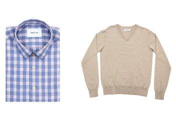 Sloan Shirt in Cornflower + Clarkson Cotton V-Neck in Sand