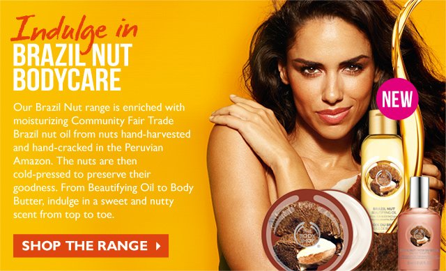 Indulge in BRAZIL NUT BODY CARE -- Our Brazil Nut range is enriched with moisturizing Community Fair Trade Brazil nut oil from nuts hand-harvested and hand-cracked in the Peruvian Amazon. The nuts are then cold-pressed to preserve their goodness. From Beautifying Oil to Body Butter, indulge in a sweet and nutty scent from top to toe. -- SHOP THE RANGE