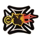 Iron Cross With Chopper Bike On Fire Patch
