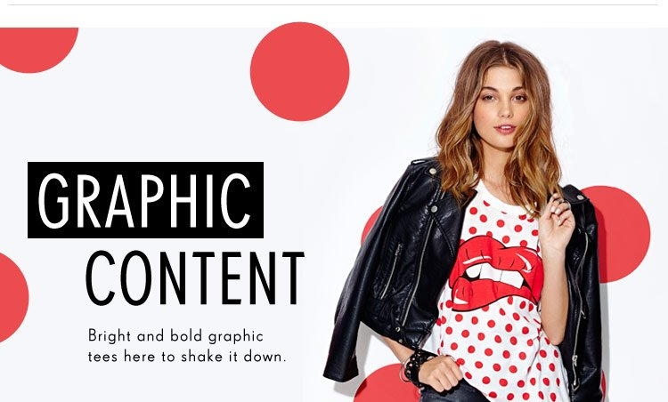 Bright and bold graphic tees here to shake it down
