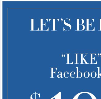 LIKE Us on Facebook and take $100 off $200 online only!
