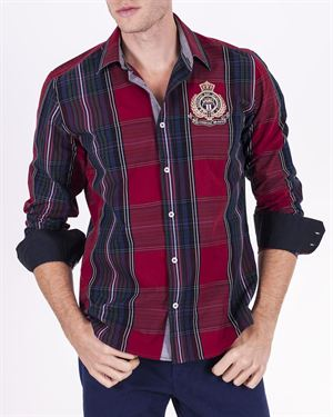 Galvanni Logo Embellished Check 100% Cotton Shirt Made in Europe