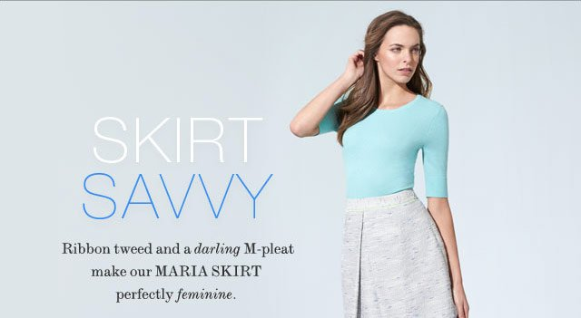SKIRT SAVVY: RIBBON TWEED AND A DARLING M-PLEAT MAKE OUR MARIA SKIRT PERFECTLY FEMININE