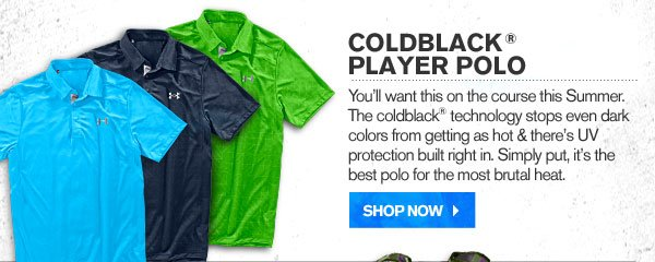 COLDBLACK® PLAYER POLO. SHOP NOW.