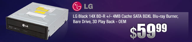 LG Black 14X BD-R +/- 4MB Cache SATA BDXL Blu-ray Burner, Bare Drive, 3D Play Back - OEM